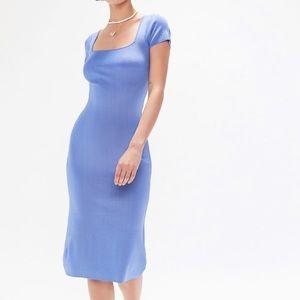 Blue Ribbed Midi Dress